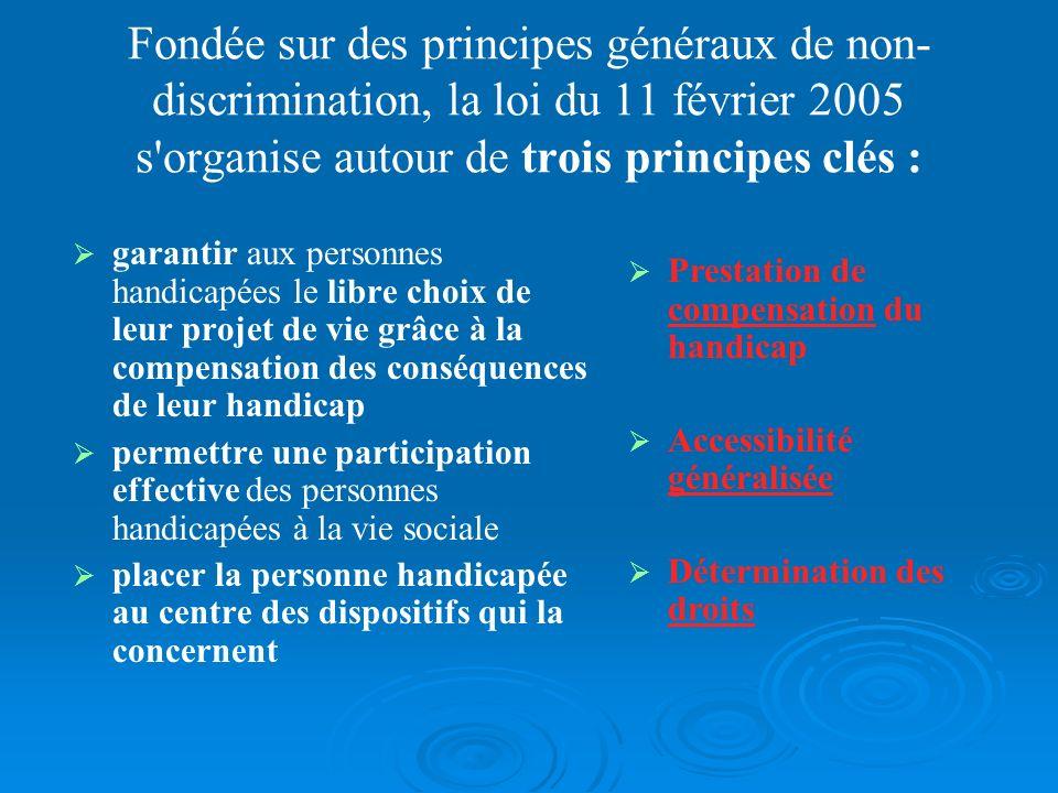 Fondée sur des principes généraux de non-discrimination, la loi du 11 février 2005 s organise autour de trois principes clés :