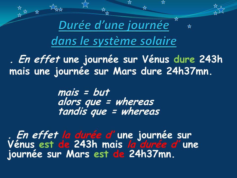 Durée d'une journée dans le système solaire