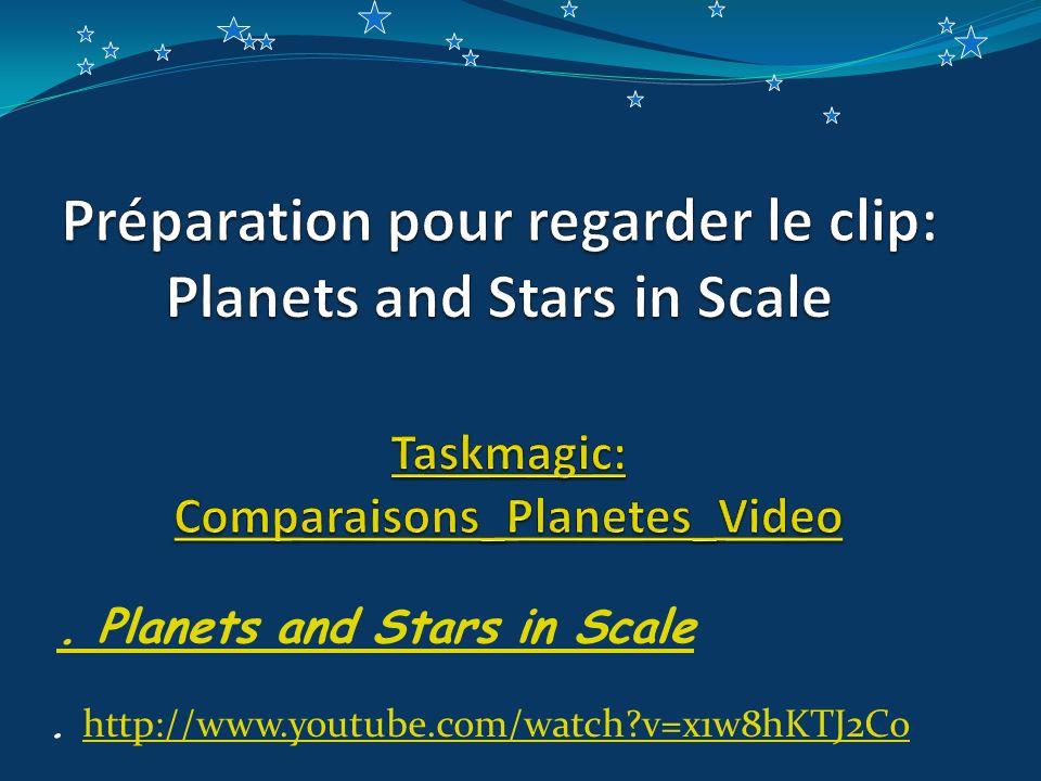 Préparation pour regarder le clip: Planets and Stars in Scale