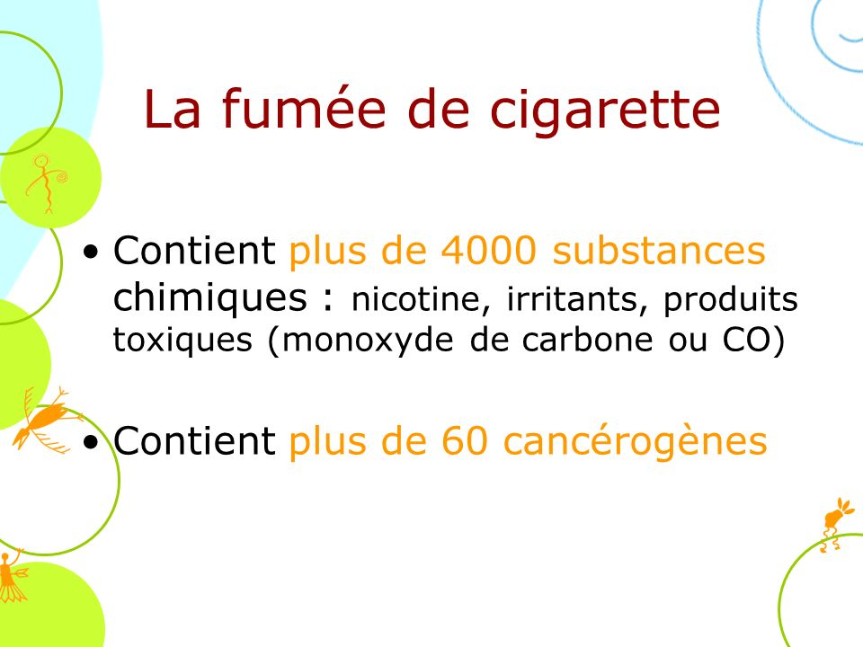 La fumée de cigarette Contient plus de 4000 substances chimiques : nicotine, irritants, produits toxiques (monoxyde de carbone ou CO)