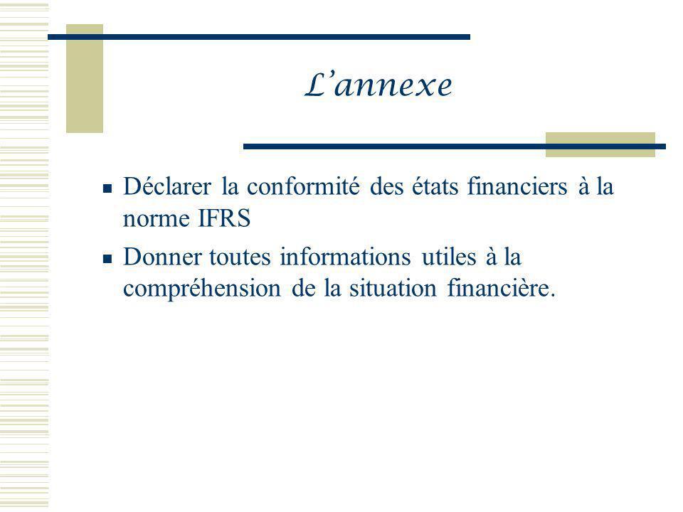 L'annexe Déclarer la conformité des états financiers à la norme IFRS