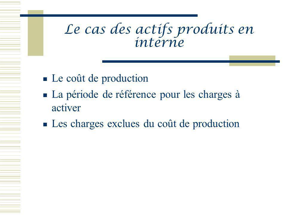 Le cas des actifs produits en interne