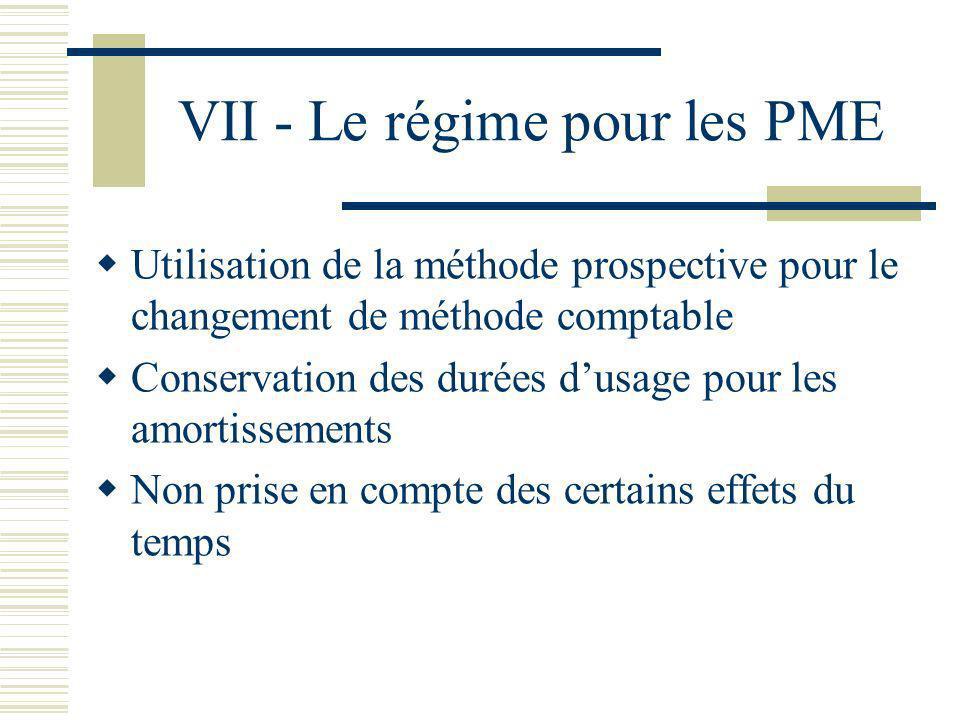 VII - Le régime pour les PME