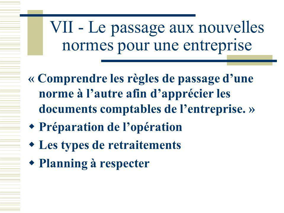 VII - Le passage aux nouvelles normes pour une entreprise
