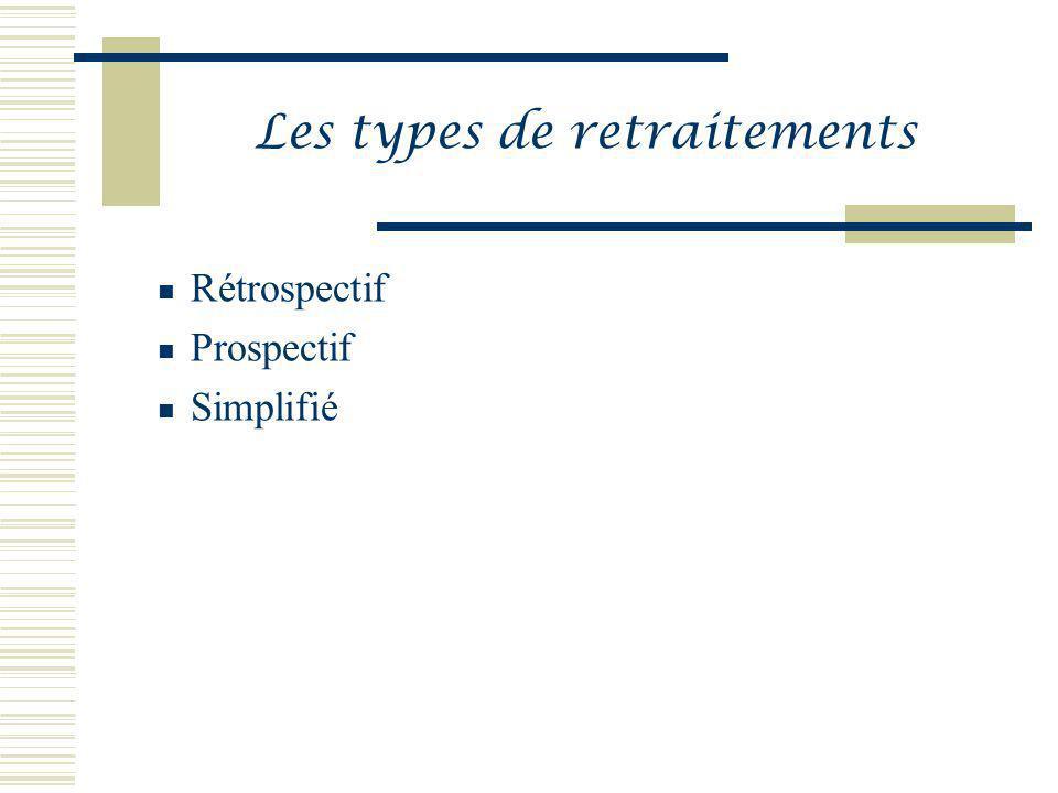 Les types de retraitements