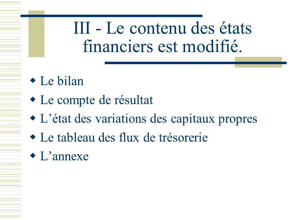 III - Le contenu des états financiers est modifié.