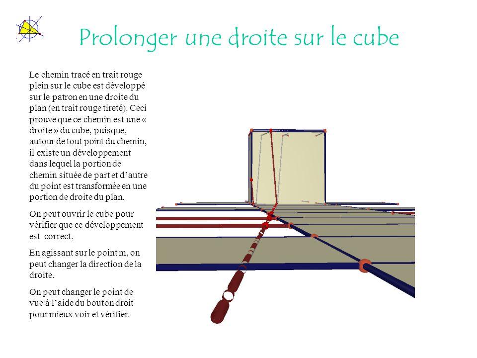 Prolonger une droite sur le cube