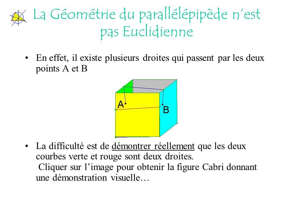 La Géométrie du parallélépipède n'est pas Euclidienne