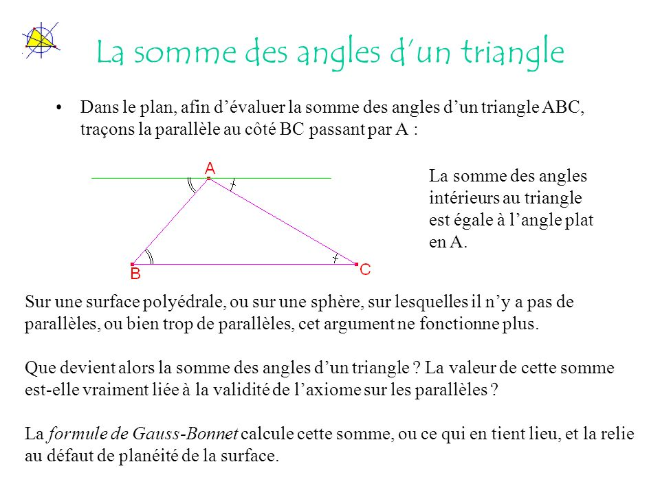 La somme des angles d'un triangle