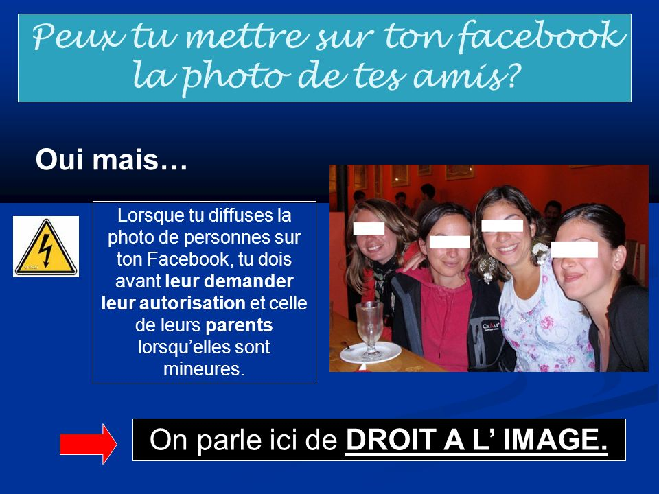 Peux tu mettre sur ton facebook la photo de tes amis