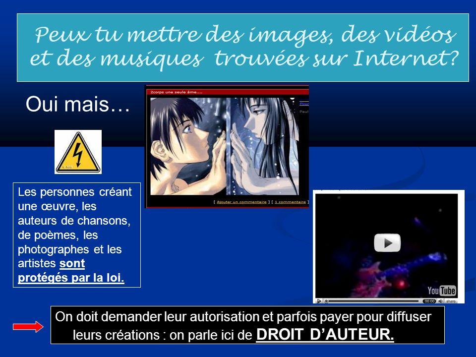 Peux tu mettre des images, des vidéos et des musiques trouvées sur Internet