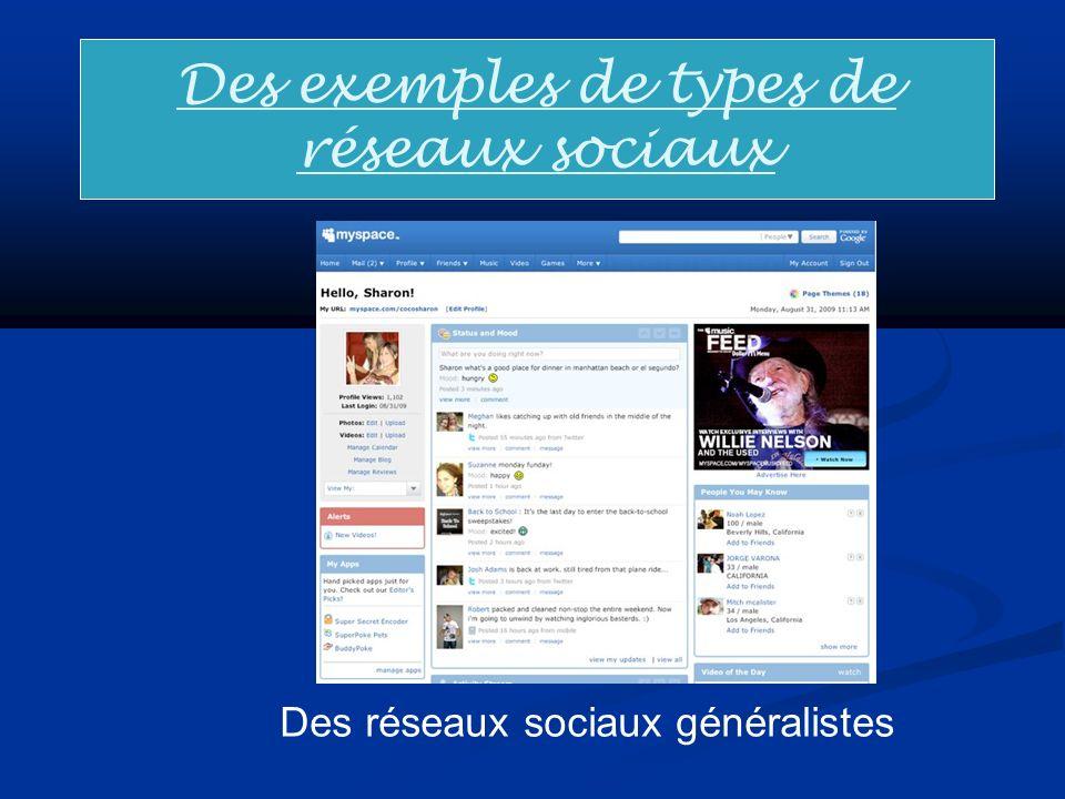 Des exemples de types de réseaux sociaux