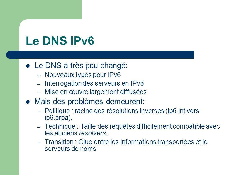 Le DNS IPv6 Le DNS a très peu changé: Mais des problèmes demeurent: