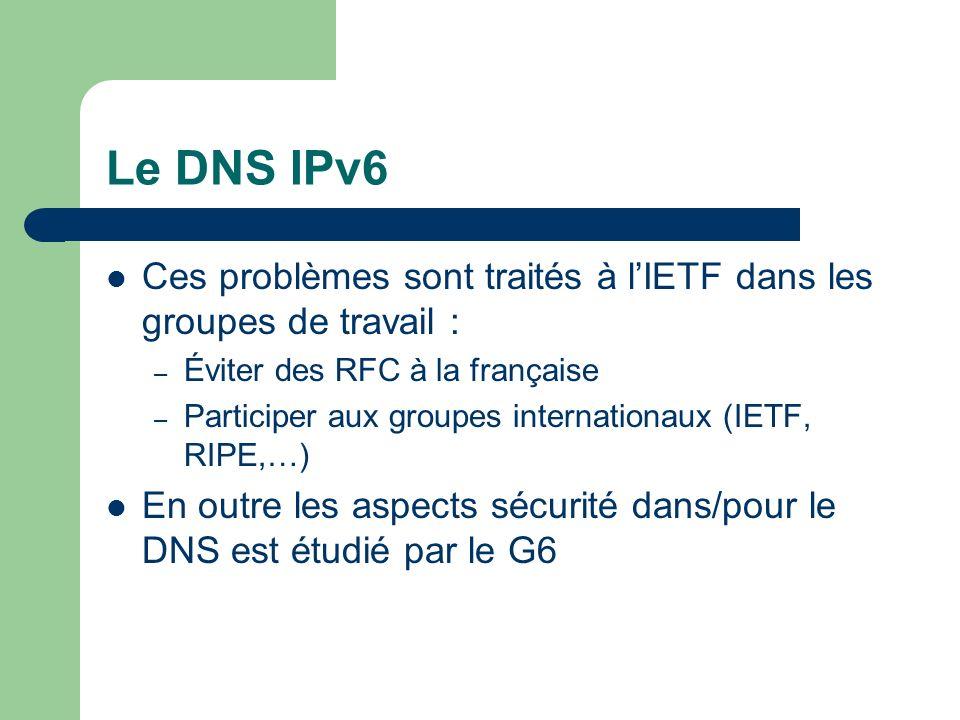Le DNS IPv6 Ces problèmes sont traités à l'IETF dans les groupes de travail : Éviter des RFC à la française.