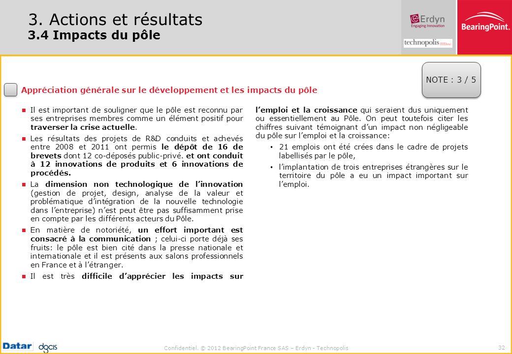 3. Actions et résultats 3.4 Impacts du pôle NOTE : 3 / 5