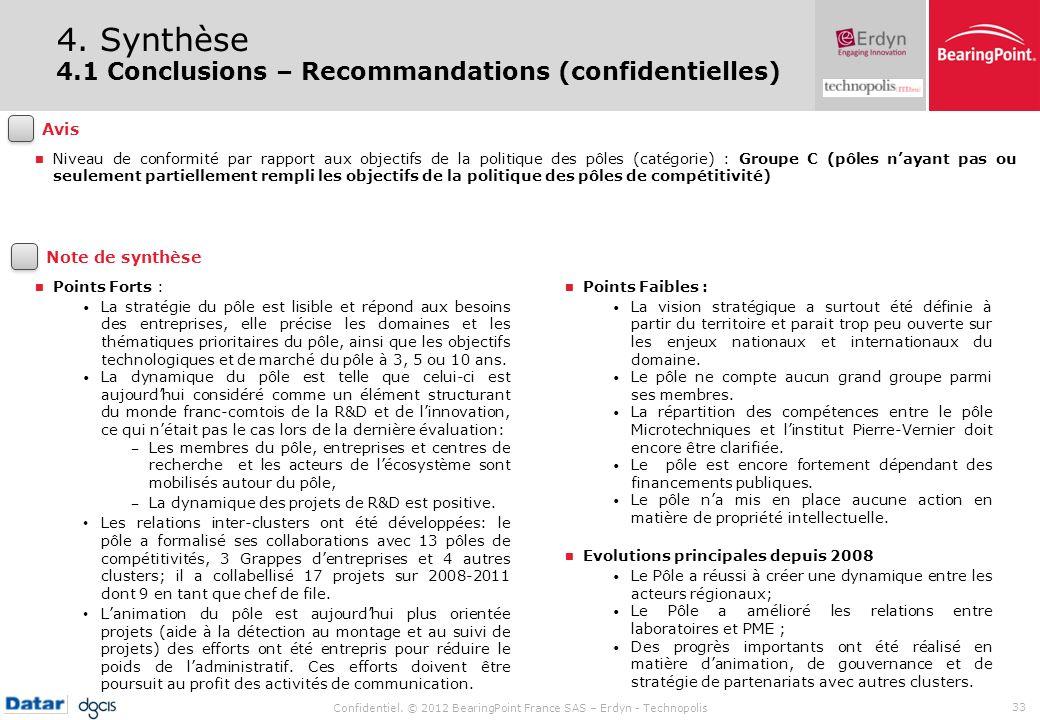 4. Synthèse 4.1 Conclusions – Recommandations (confidentielles) Avis
