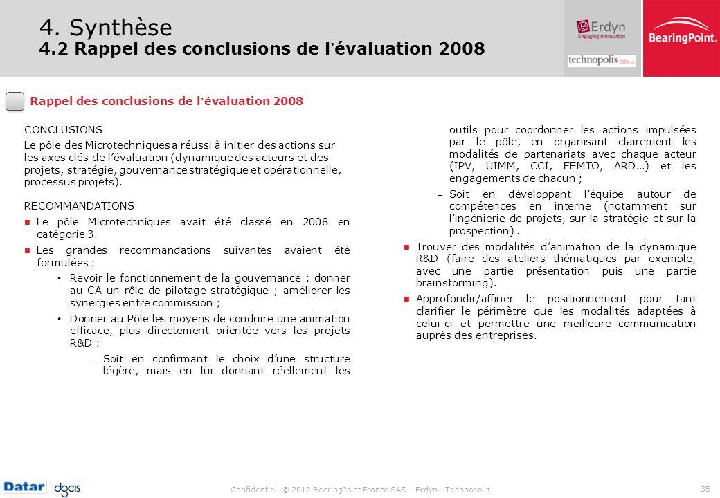 4. Synthèse 4.2 Rappel des conclusions de l'évaluation 2008