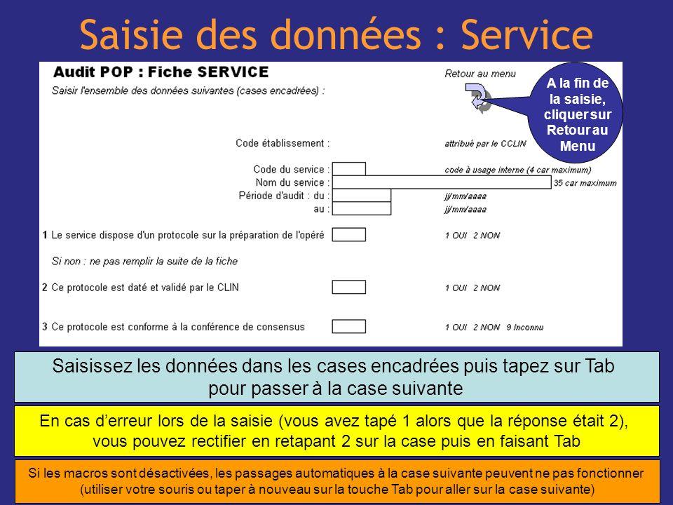 Saisie des données : Service