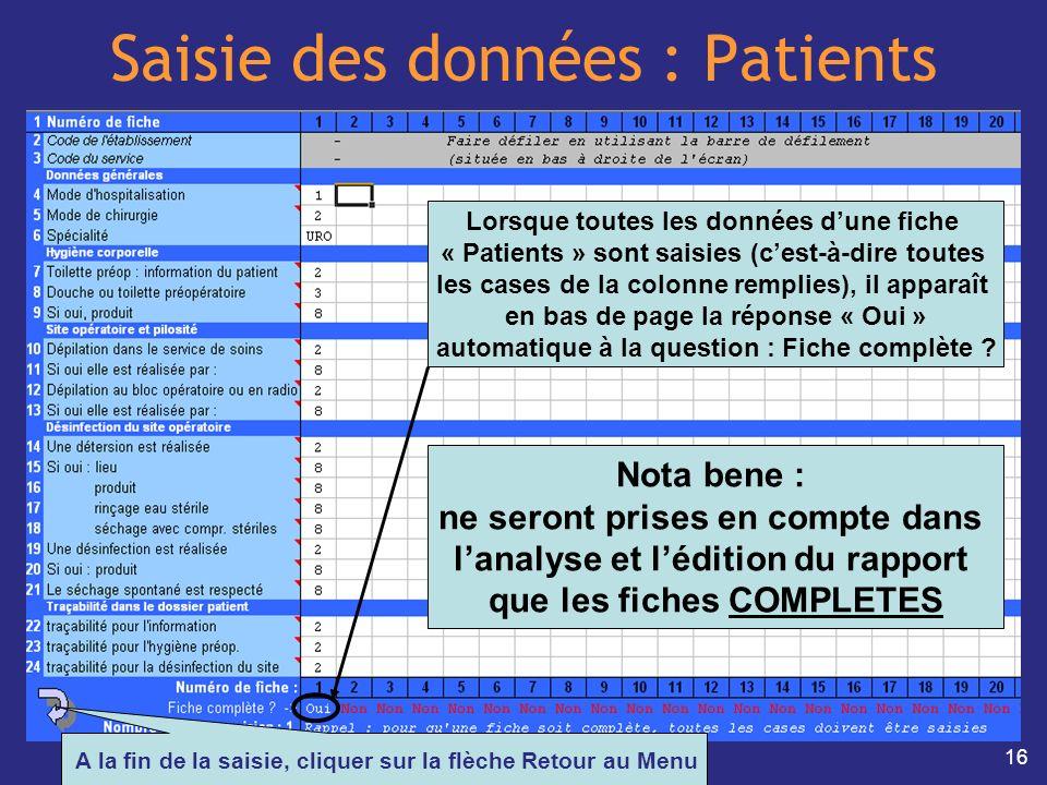 Saisie des données : Patients