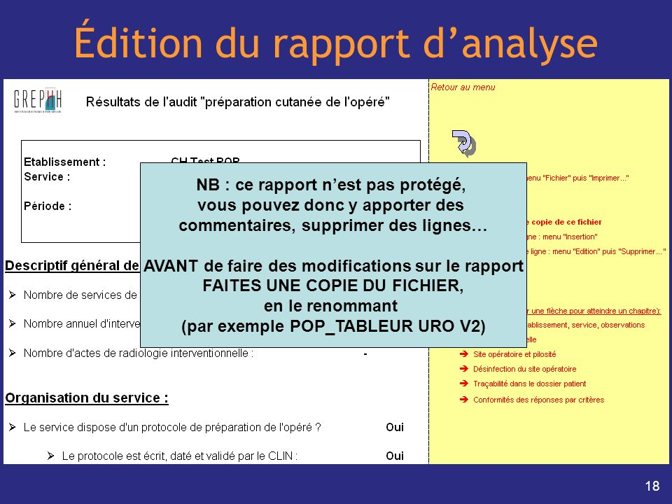 Édition du rapport d'analyse