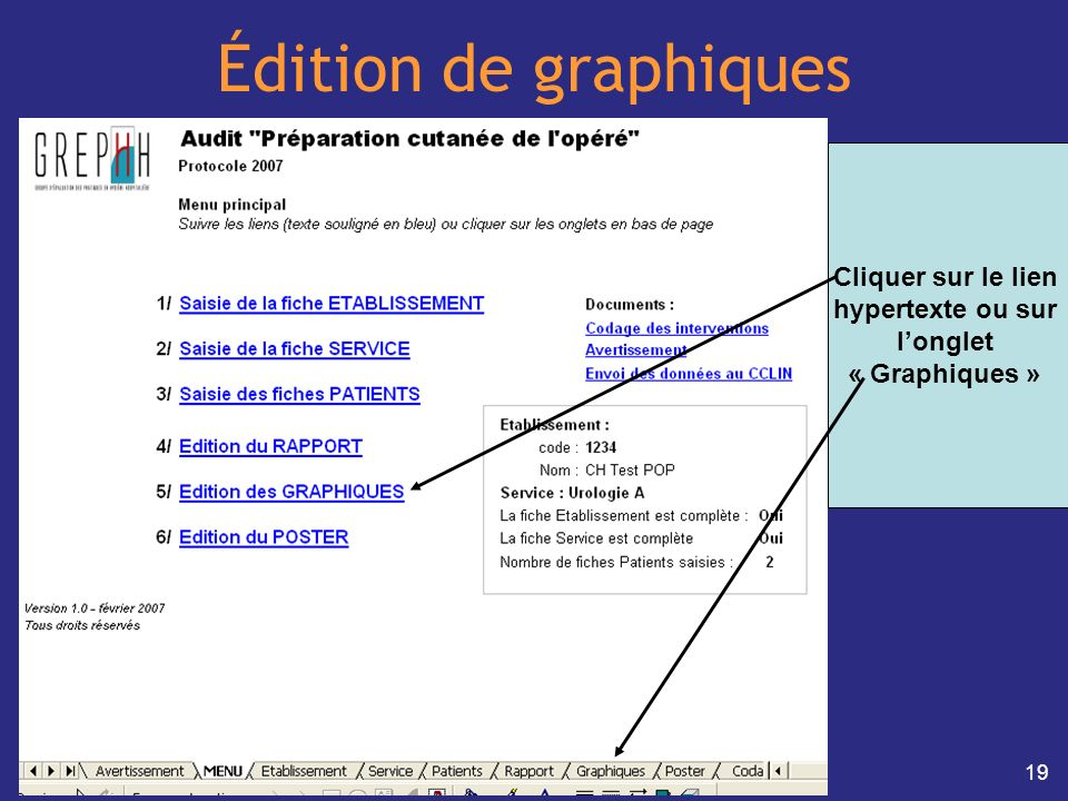 Édition de graphiques Cliquer sur le lien hypertexte ou sur l'onglet