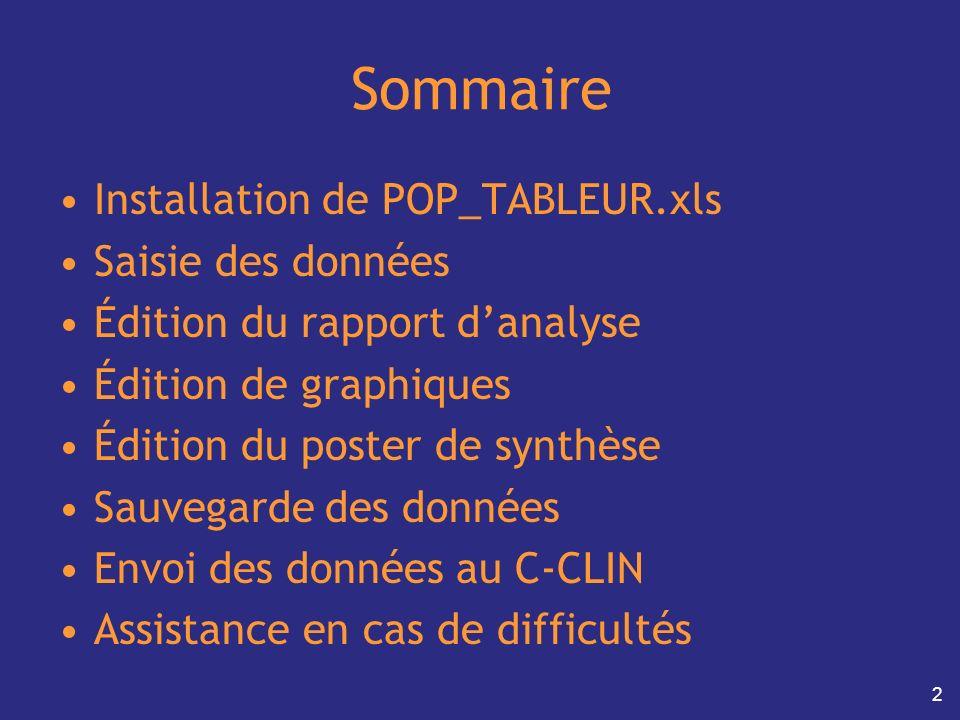 Sommaire Installation de POP_TABLEUR.xls Saisie des données