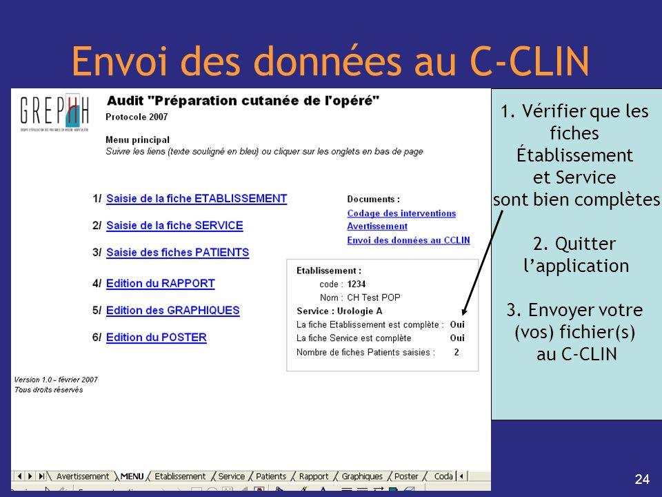 Envoi des données au C-CLIN