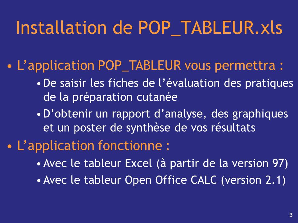 Installation de POP_TABLEUR.xls