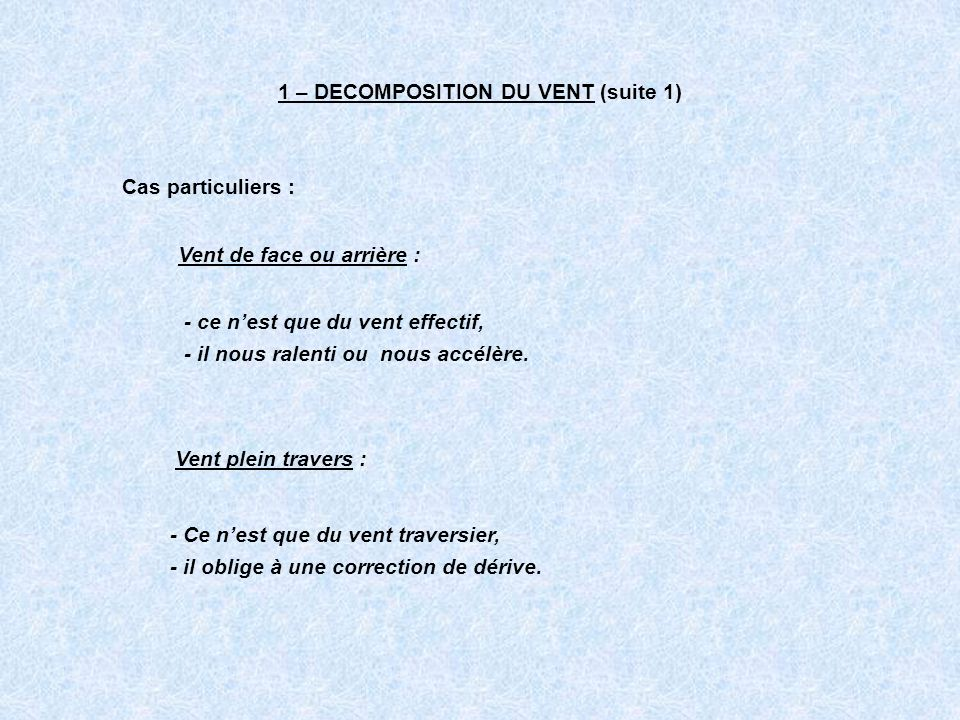 1 – DECOMPOSITION DU VENT (suite 1)