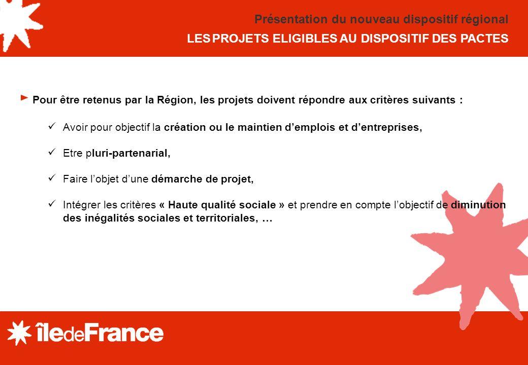 Présentation du nouveau dispositif régional LES PROJETS ELIGIBLES AU DISPOSITIF DES PACTES