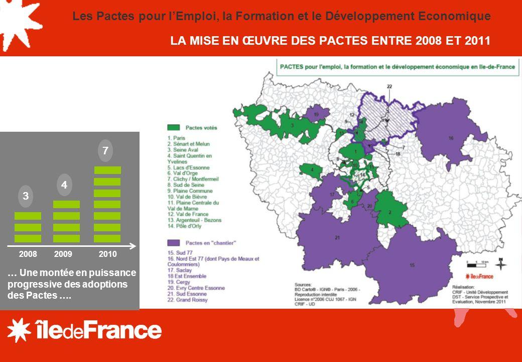 Les Pactes pour l'Emploi, la Formation et le Développement Economique LA MISE EN ŒUVRE DES PACTES ENTRE 2008 ET 2011