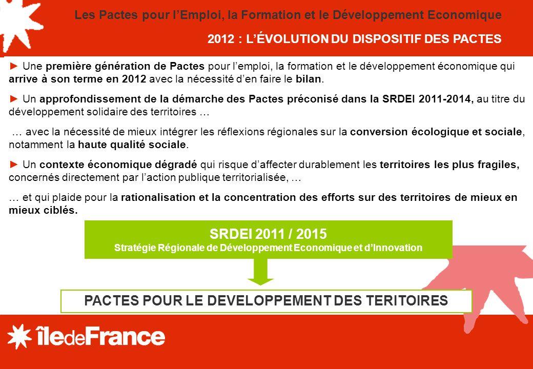 SRDEI 2011 / 2015 PACTES POUR LE DEVELOPPEMENT DES TERITOIRES