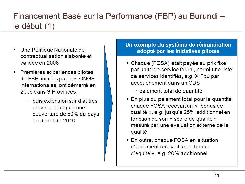 Financement Basé sur la Performance (FBP) au Burundi – le début (1)