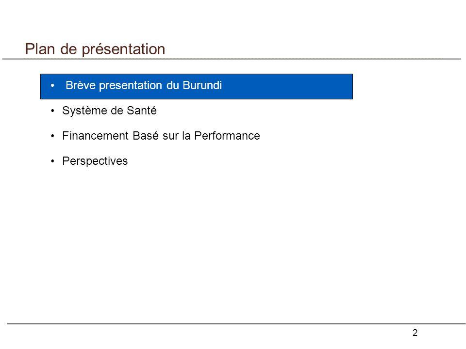 Plan de présentation Brève presentation du Burundi Système de Santé