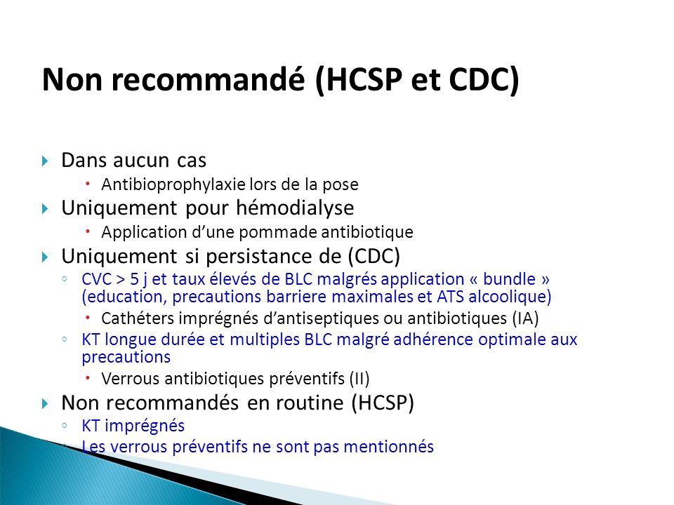 Non recommandé (HCSP et CDC)