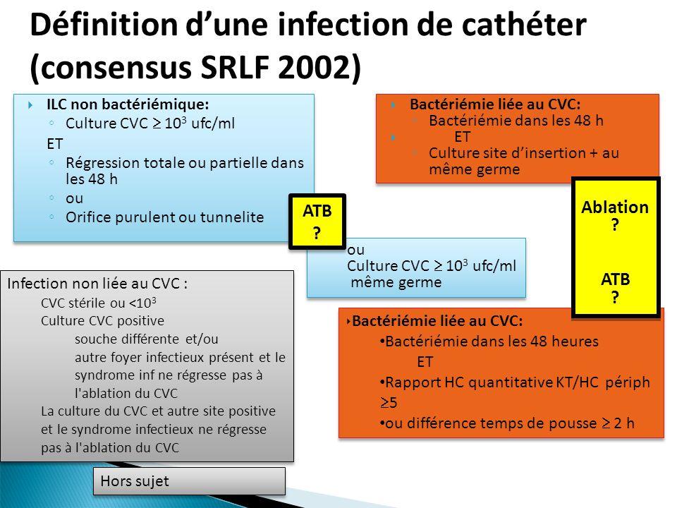 Définition d'une infection de cathéter (consensus SRLF 2002)