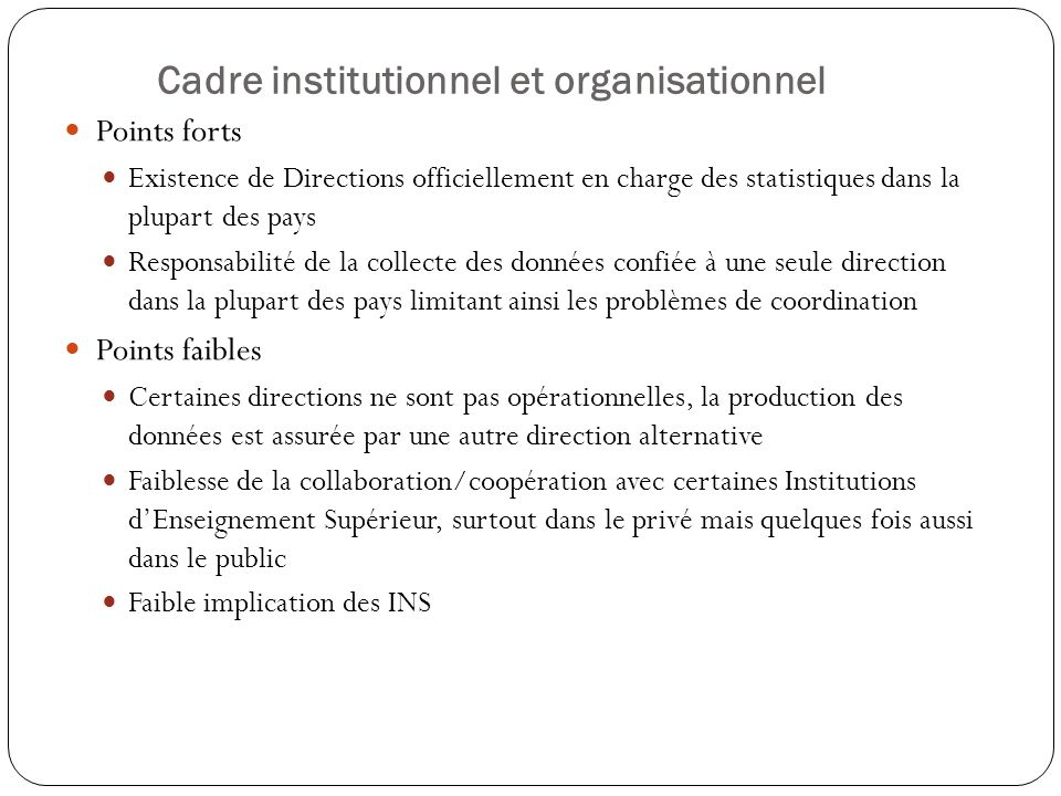 Cadre institutionnel et organisationnel