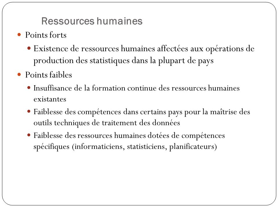 Ressources humaines Points forts