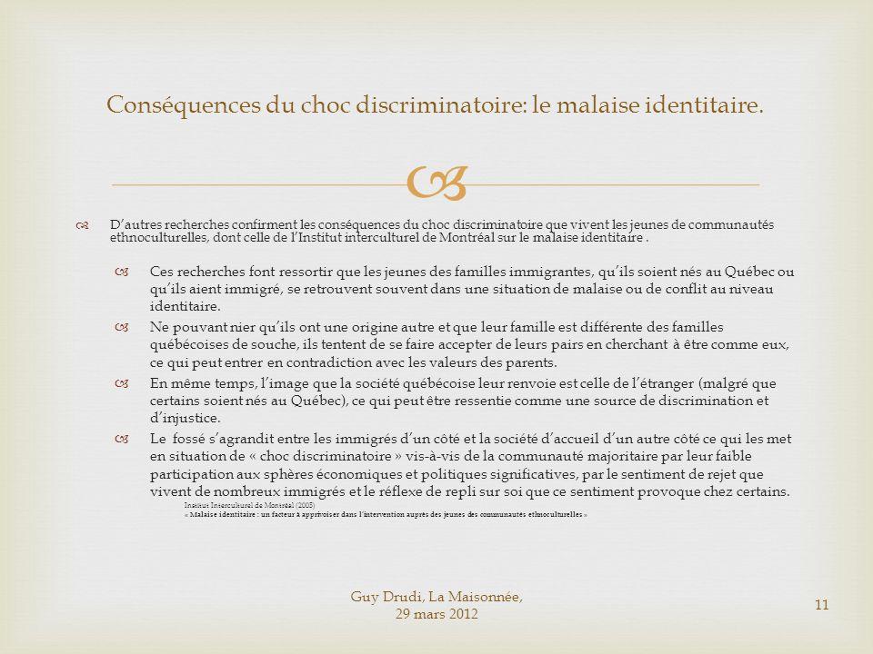 Conséquences du choc discriminatoire: le malaise identitaire.