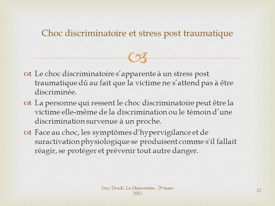 Choc discriminatoire et stress post traumatique
