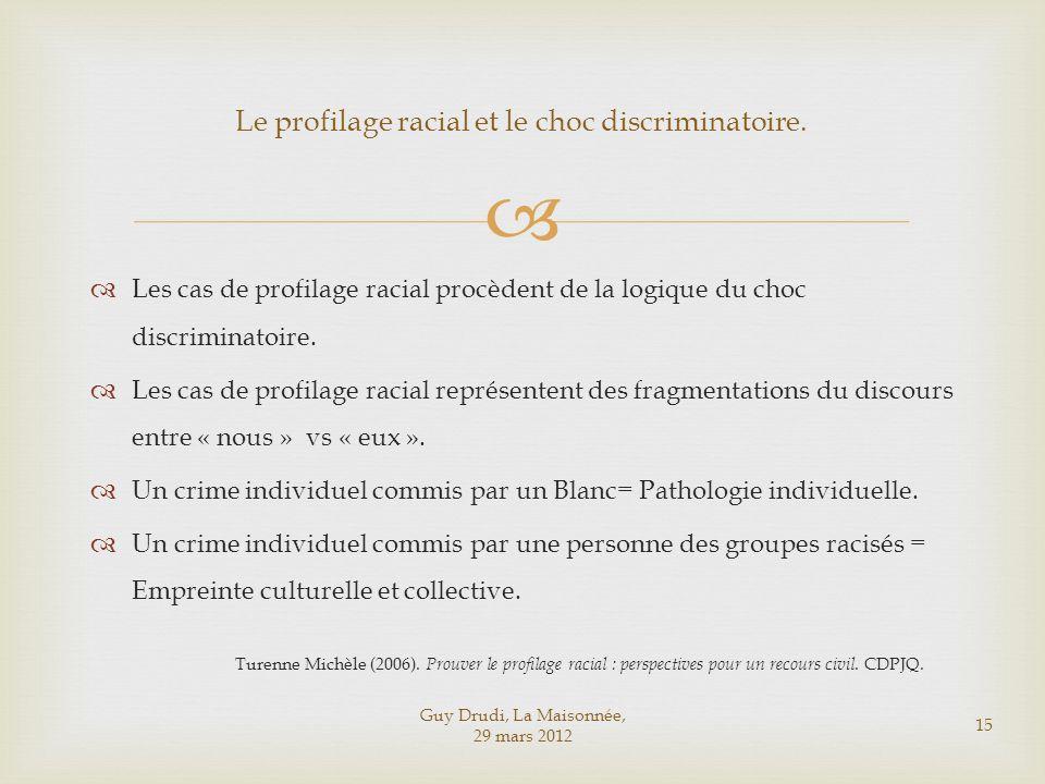 Le profilage racial et le choc discriminatoire.