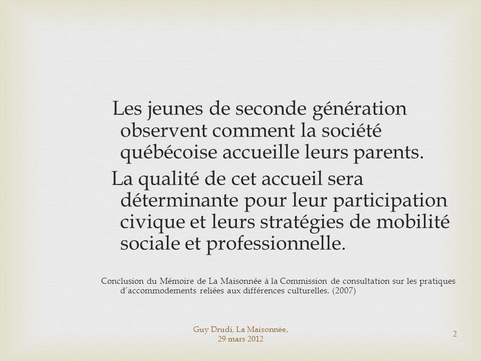 Les jeunes de seconde génération observent comment la société québécoise accueille leurs parents.