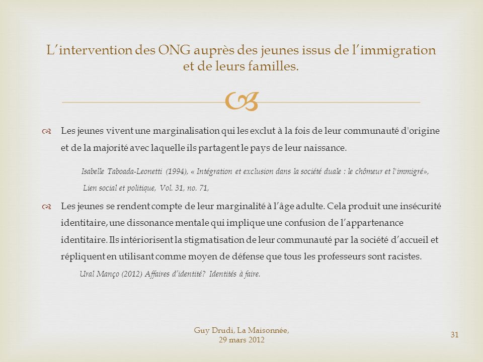 L'intervention des ONG auprès des jeunes issus de l'immigration et de leurs familles.