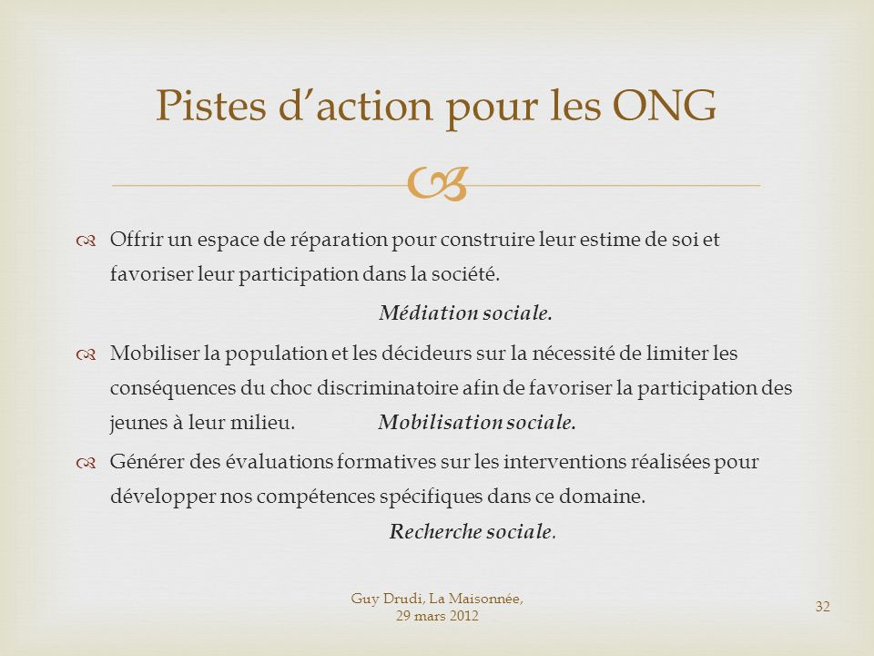 Pistes d'action pour les ONG