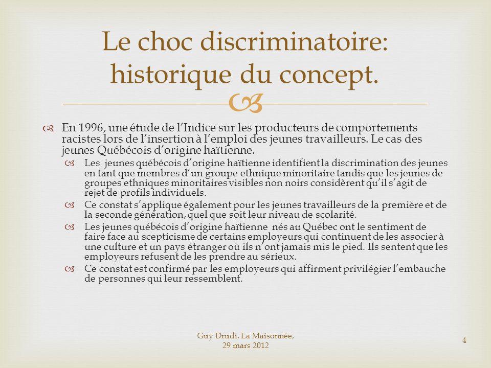 Le choc discriminatoire: historique du concept.