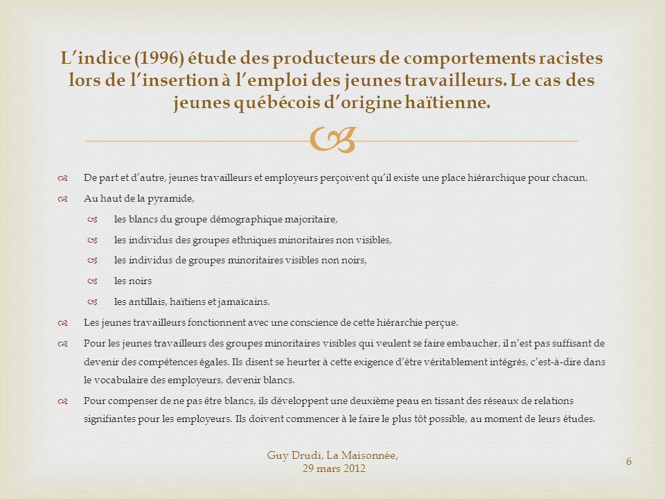 L'indice (1996) étude des producteurs de comportements racistes lors de l'insertion à l'emploi des jeunes travailleurs. Le cas des jeunes québécois d'origine haïtienne.