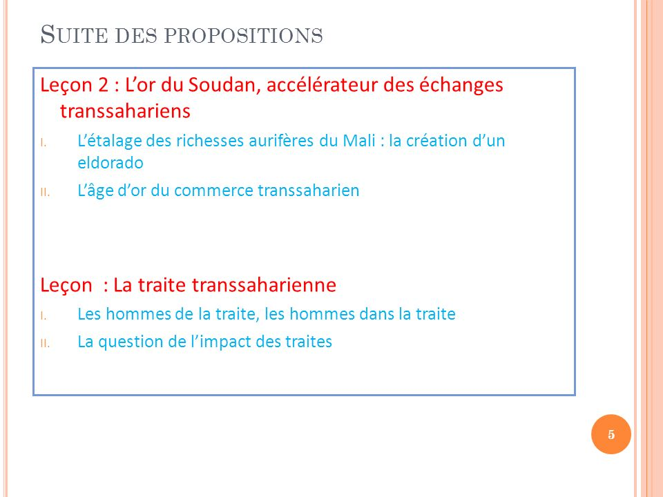 Suite des propositions