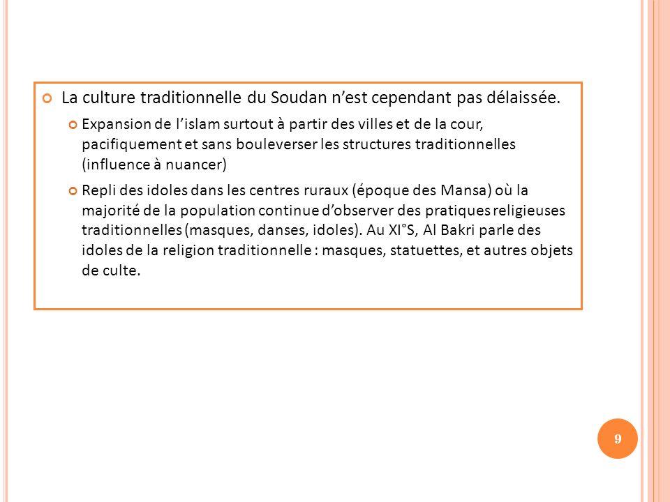 La culture traditionnelle du Soudan n'est cependant pas délaissée.