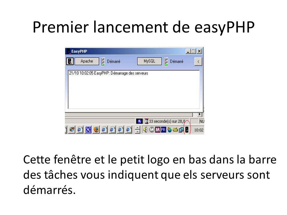 Premier lancement de easyPHP