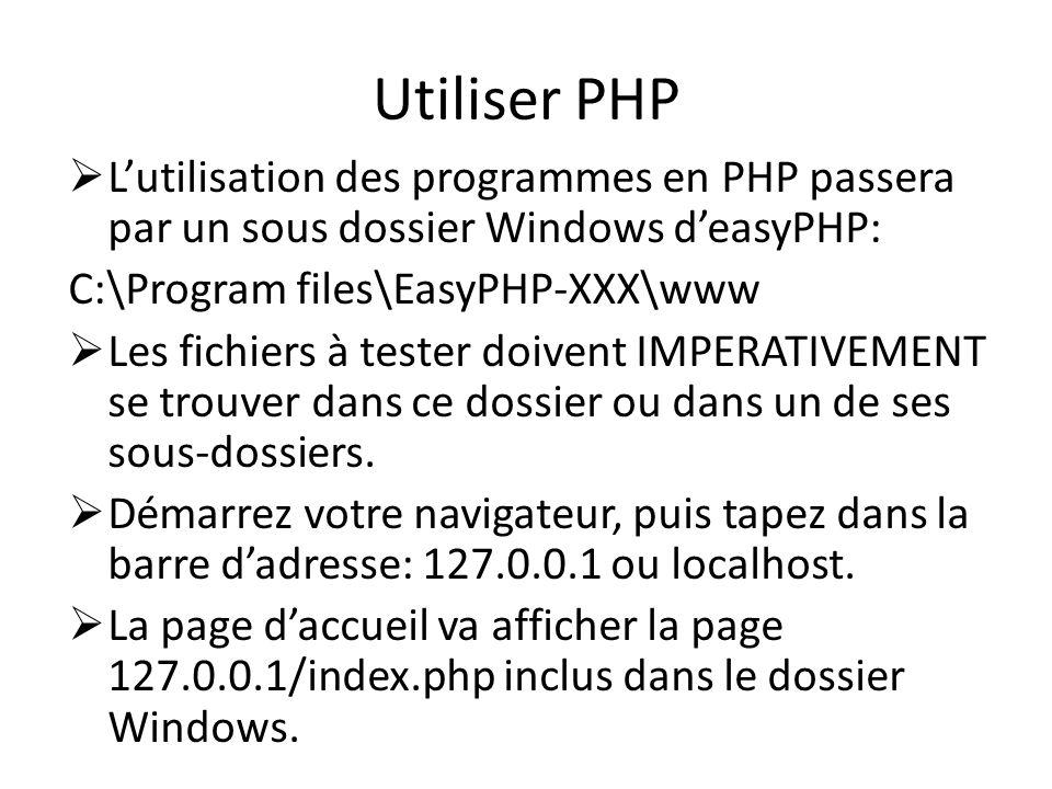 Utiliser PHP L'utilisation des programmes en PHP passera par un sous dossier Windows d'easyPHP: C:\Program files\EasyPHP-XXX\www.